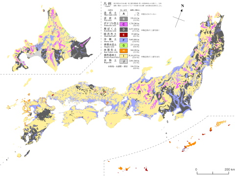 Japan Map Regions.Soil Science Tohoku Univ Soil Regions Map Of Japan Based On A